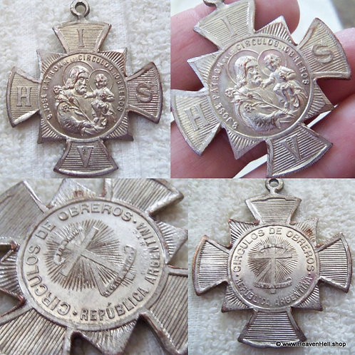 Vintage Spanish Saint Joseph Jose Christ Child Maltese Cross Religious pendant