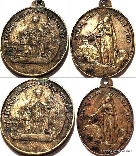 Large rare French Catholic Antique Brass Holy Medal Saint Barbara St. Leonard