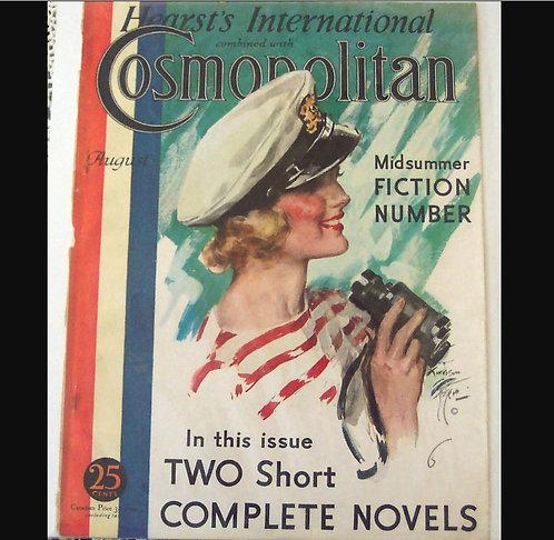 Vintage Harrison Fisher Cosmopolitan magazine Art Cover Print Sailing Lady