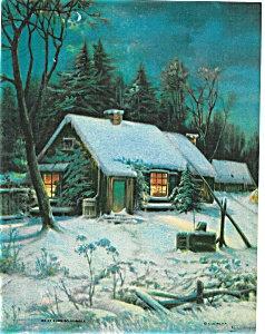 Country Prints: Winter Night Scene: Moonlight: House