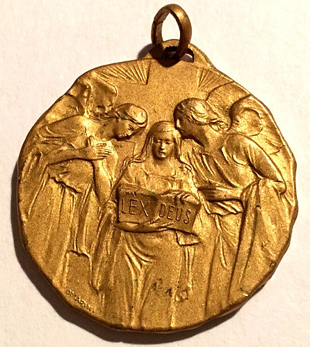 Large Rare Antique Signed Holy Medal Gold Gilt Angels Law Of God