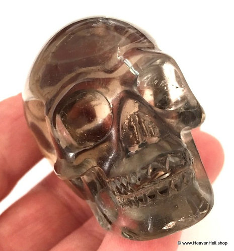 Himalayan Clear Smoky Quartz Crystal Skull Powerful Manifestation Energy