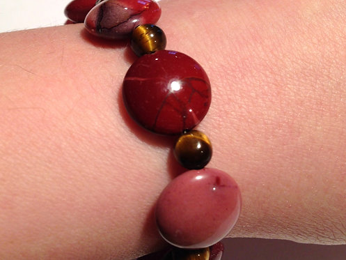 "7"" Bracelet Mookaite Jasper and Tiger Eye Earth Energy Gemstones"