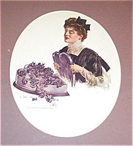 Vintage Print Lavender Purple Roses Victorian Lady Henry Hutt