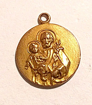 10k Gold Vintage St. Joseph Jesus Christ Guardian Angel Pendant