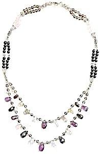Amethyst Citrine Opal Sterling Silver Multi Gemstone Necklace