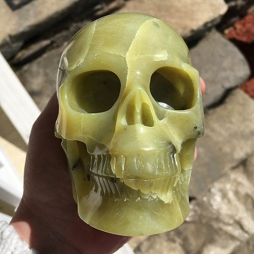 2.6Lb Large Serpentine Jade Crystal Skull Good Luck, Home Blessings, Prosperity