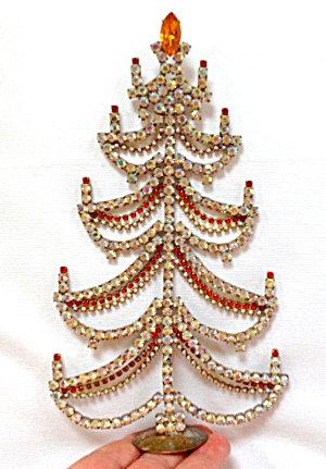 Ab Red Crystal Rhinestone Vintage Christmas Tree Village Decoration
