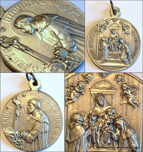 Rare Antique German Medal Saint Dominic Angels Our Lady Of The Rosary Saint Rose