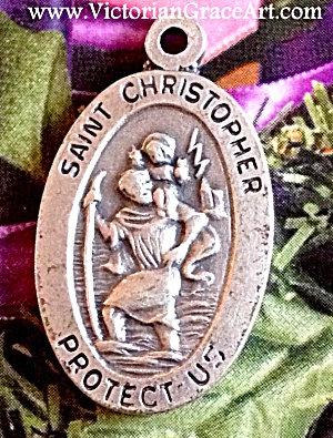 Vintage Saint Christopher Pendant Protection Medal