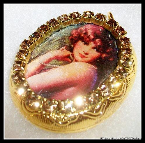 Art Deco Lady Locket Topaz Rhinestone Pendant, Remembrance Jewelry
