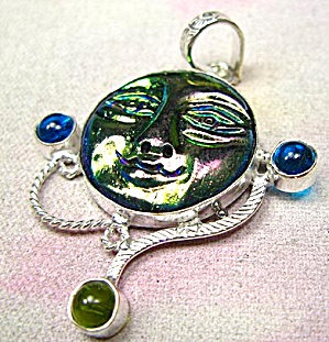 Titanium Goddess Carved Face Pendant Artisan Crafted .925 Silver