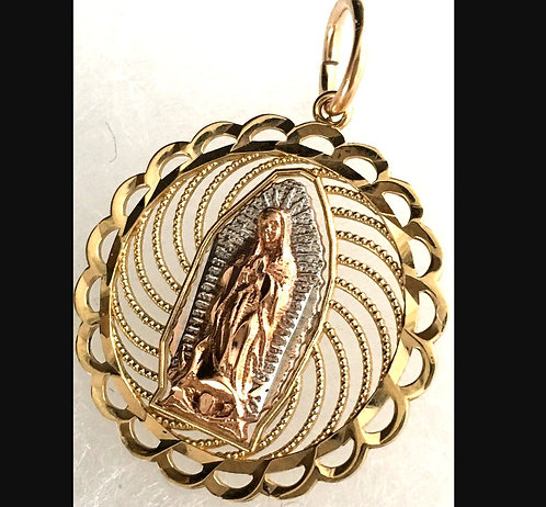 Vintage Solid 14k Gold Pendant Our Lady Of Guadalupe Virgin Mary Round Filigree