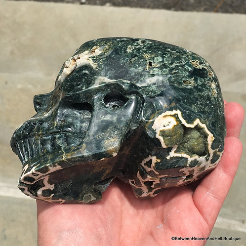 """5"""" Large BUBBLY Ocean Jasper Skull Activated Charged Atlantean Crystal"""