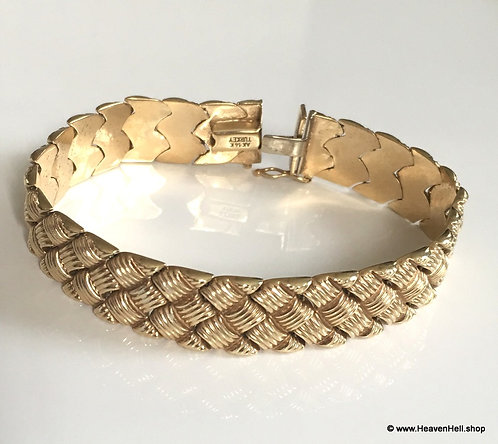 Vintage Unisex 14k Gold Wide Stampato Bracelet,Turkey, Solid Yellow gold 13grams