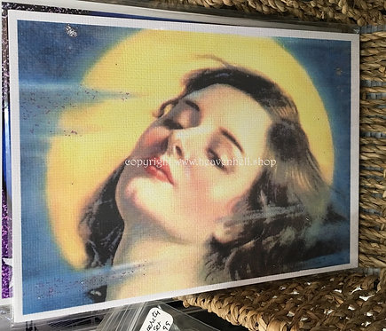Sexy Moonlight Goddess 5x7 Art Print Sultry Woman Under a Misty Full Moon