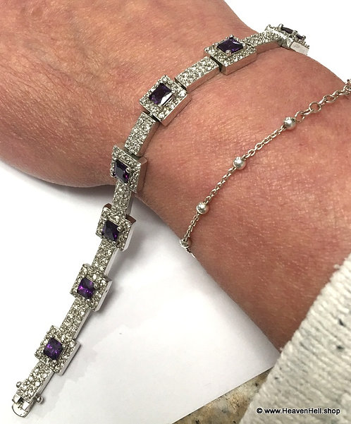 Vintage Sparkling Amethyst and clear CZ stone bracelet, Sterling Silver Jewelry