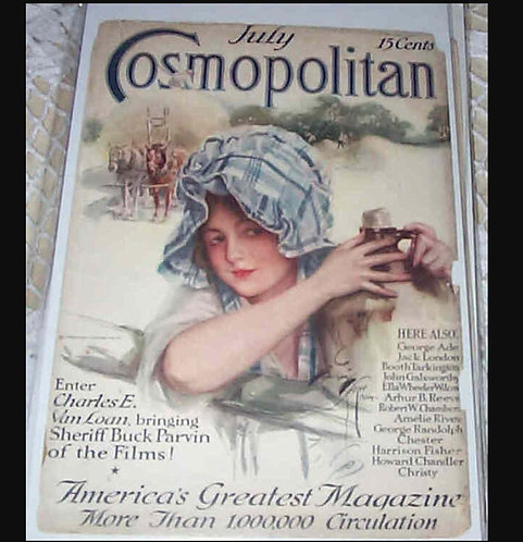 1915 Vintage Harrison Fisher Cosmopolitan Magazine Cover Art Country Farm
