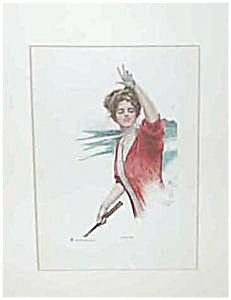 Harrison Fisher Golf , Golfing Print Two Up Victorian Lady Golfer