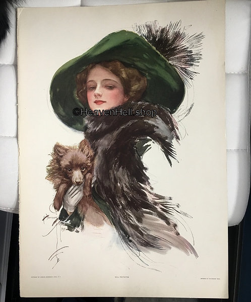 Large 1911 Antique Print Edwardian Woman in Big Hat with Dog, Harrison Fisher
