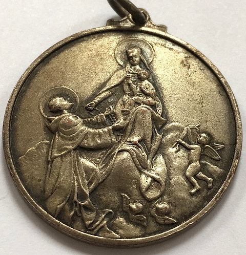 Rare Antique Medal Our Lady Rosary Virgin Mary Jesus St. Dominic Rose of Lima