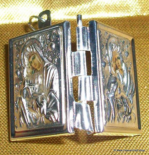 Vintage Icon Prayer Box Locket Madonna & Child Catholic Orthodox  Pendant