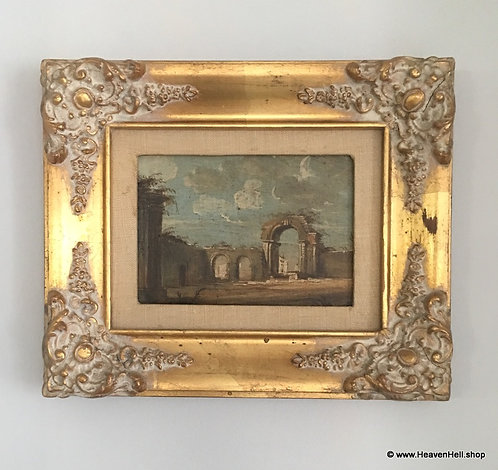 Vintage Oil Painting Ornate White washed Gold Wooden Frame, Italian Architecture