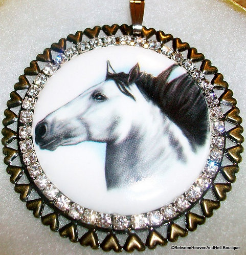Large White Horse Pendant Round Porcelain Cameo and Clear Rhinestones