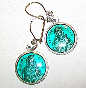 Vintage St. Jude Earrings Saint Enamel Pierced