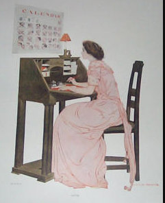 Vintage Coles Phillips Fade Away Girl Print Office Wall Decor