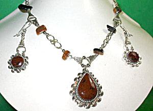 Gemstone Jewelry Necklace Earrings Mahogany Obsidian Set