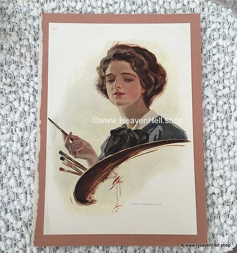 1911 Vintage Art Print Harrison Fisher Victorian Lady Painting Artist