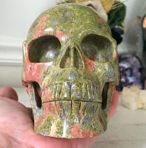 "5.1"" Large Activated Unakite Jasper Crystal Skull New Beginnings Past Life Work"