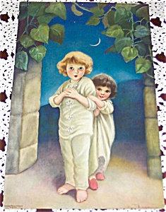 Antique Children Print Under Crescent Moon