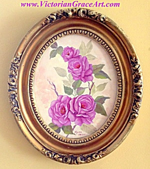 Purple Roses Oval Framed Canvas Painting Ornate Frame