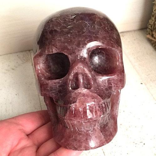 """5.2"""" Large Lithium Muscovite Quartz Crystal Skull Master Activated"""