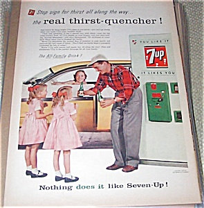 7 Up Soda Ad Mom Dad & Twin Girls 1950's Family