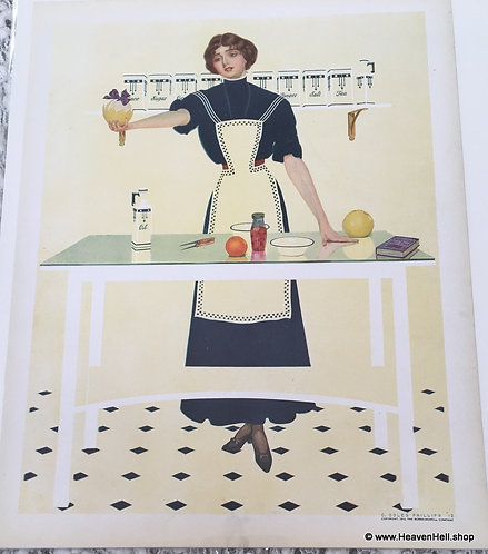 1912 Vintage Print Coles Phillips Fade Away Girl Kitchen Wall Decor Cooking