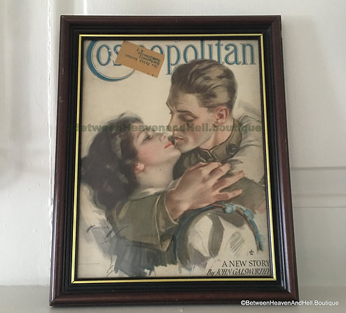 Vintage WWI Era Cosmopolitan Magazine Cover art MY MAN Harrison Fisher, Framed