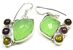 Green Agate Citrine Drop Earrings Sterling Silver