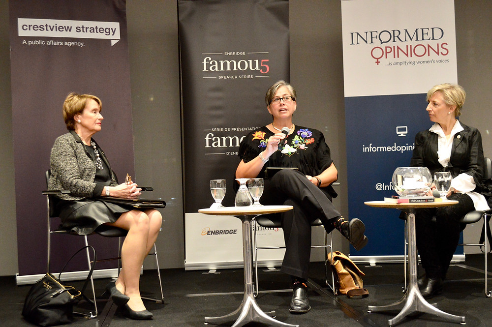 MNO President Margaret Froh (centre) participates in a  panel in Ottawa discussing Persons Day on Oct. 18. She  was one of three participants, including Penny Collenette  (left), Adjunct Professor at the University of Ottawa, and  Shari Graydon (right), Founder of Informed Opinions.