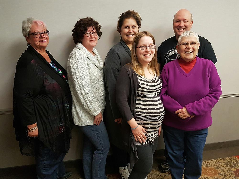 Front row: left-right) Alicia Hamilton, Diane Kilby (Back row: left-right) Carol Levis, Leslie-Anne Muma, Colleen Brunelle and Dave Skene.