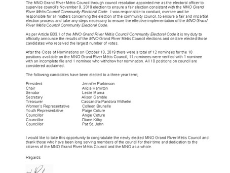 Chartered Community Council Official Election Results
