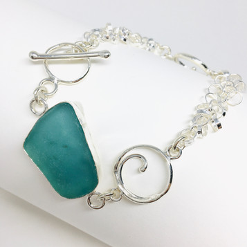 Many Links Aqua Seaglass Bracelet