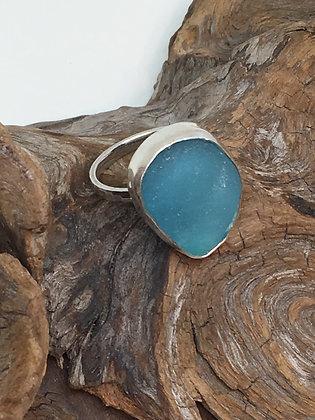 Aqua Seaglass Ring, Size 9 1/4