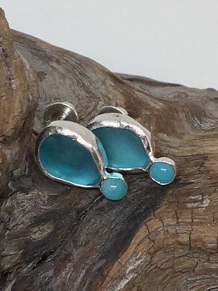 Aqua Seaglass and Amazonite Earrings