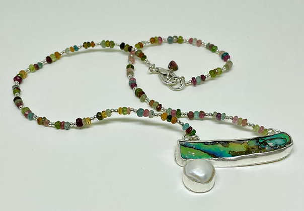 Abalone, Pearl and tourmaline