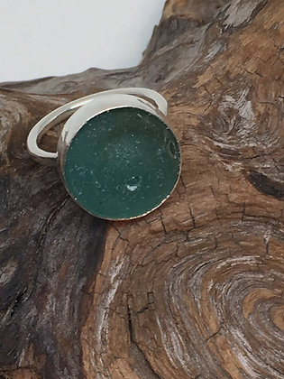 Teal Marble Seaglass Ring, Size 8.5