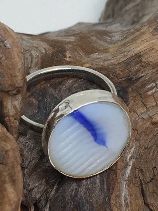 Ohajiki Marble Seaglass Ring, Size 7.5