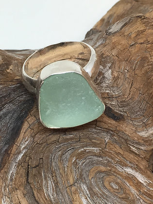 Seafoam Green Seaglass Ring, Size 8.5